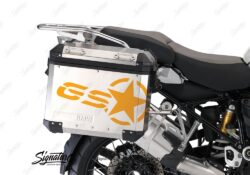 BSTI 3779 BMW GS Alluminium Panniers GS Star Stickers Saffron Yellow 02