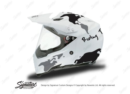 HEL 3730 AGV AX 8 DUAL Helmet White The Globe Black Silver Stickers Kit Left