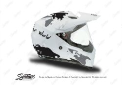 HEL 3730 AGV AX 8 DUAL Helmet White The Globe Black Silver Stickers Kit Right