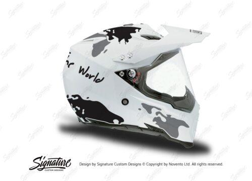 HEL 3730 AGV AX 8 DUAL Helmet White The Globe Black Silver Stickers Kit Right