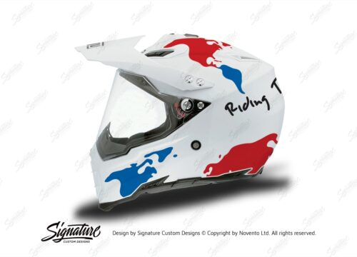 HEL 3731 AGV AX 8 DUAL Helmet White The Globe Blue Red Stickers Kit Left