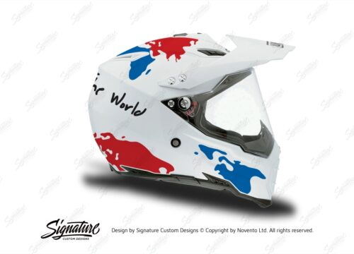 HEL 3731 AGV AX 8 DUAL Helmet White The Globe Blue Red Stickers Kit Right