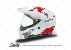 HEL 3732 AGV AX 8 DUAL Helmet White The Globe Red Silver Stickers Kit Left
