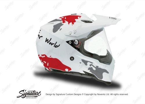 HEL 3732 AGV AX 8 DUAL Helmet White The Globe Red Silver Stickers Kit Right