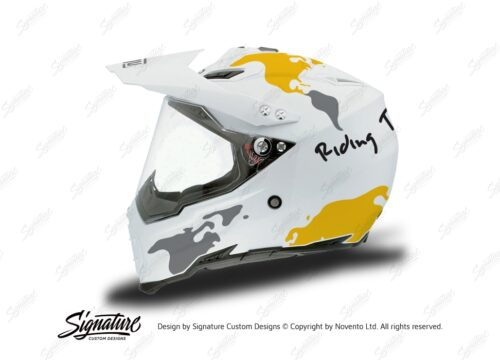 HEL 3733 AGV AX 8 DUAL Helmet White The Globe Yellow Silver Stickers Kit Left