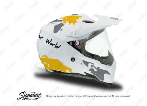 HEL 3733 AGV AX 8 DUAL Helmet White The Globe Yellow Silver Stickers Kit Right