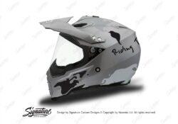 HEL 3734 AGV AX 8 DUAL Helmet Titanium The Globe Black Silver Stickers Kit Left
