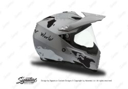 HEL 3734 AGV AX 8 DUAL Helmet Titanium The Globe Black Silver Stickers Kit Right