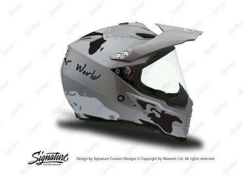 HEL 3734 AGV AX 8 DUAL Helmet Titanium The Globe Black Silver Stickers Kit Right