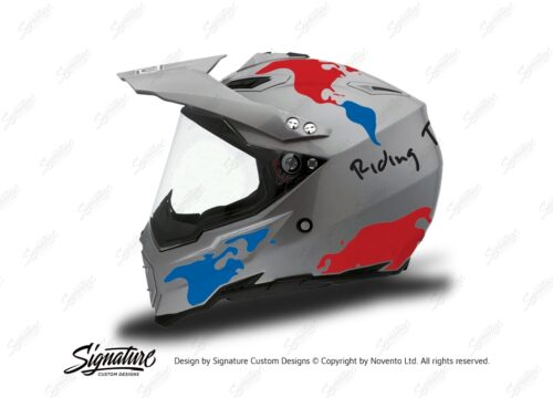HEL 3735 AGV AX 8 DUAL Helmet Titanium The Globe Blue Red Stickers Kit Left