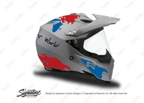 HEL 3735 AGV AX 8 DUAL Helmet Titanium The Globe Blue Red Stickers Kit Right