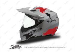 HEL 3736 AGV AX 8 DUAL Helmet Titanium The Globe Red Black Stickers Kit Left