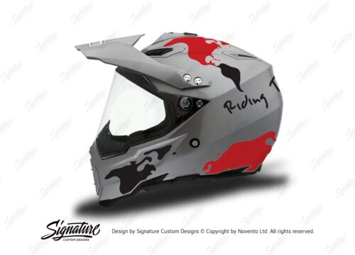 HEL 3736 AGV AX 8 DUAL Helmet Titanium The Globe Red Black Stickers Kit Left