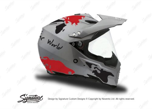 HEL 3736 AGV AX 8 DUAL Helmet Titanium The Globe Red Black Stickers Kit Right