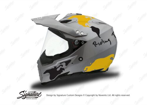 HEL 3737 AGV AX 8 DUAL Helmet Titanium The Globe Yellow Black Stickers Kit Left