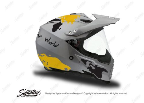 HEL 3737 AGV AX 8 DUAL Helmet Titanium The Globe Yellow Black Stickers Kit Right