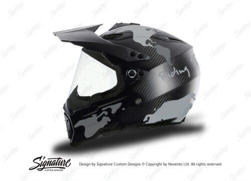 HEL 3738 AGV AX 8 DUAL Helmet Carbon The Globe Silver Variations Stickers Kit Left