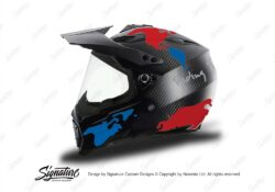 HEL 3739 AGV AX 8 DUAL Helmet Carbon The Globe Blue Red Stickers Kit Left