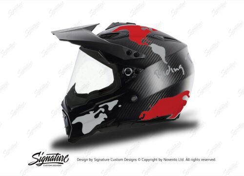 HEL 3740 AGV AX 8 DUAL Helmet Carbon The Globe Red Silver Stickers Kit Left