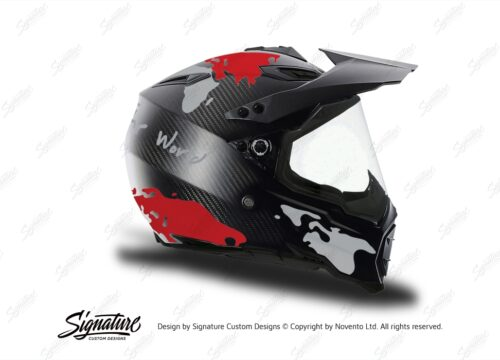 HEL 3740 AGV AX 8 DUAL Helmet Carbon The Globe Red Silver Stickers Kit Right