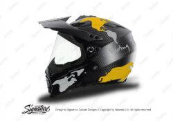 HEL 3741 AGV AX 8 DUAL Helmet Carbon The Globe Yellow Silver Stickers Kit Left
