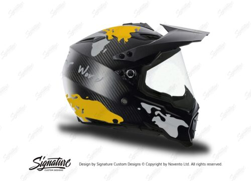 HEL 3741 AGV AX 8 DUAL Helmet Carbon The Globe Yellow Silver Stickers Kit Right