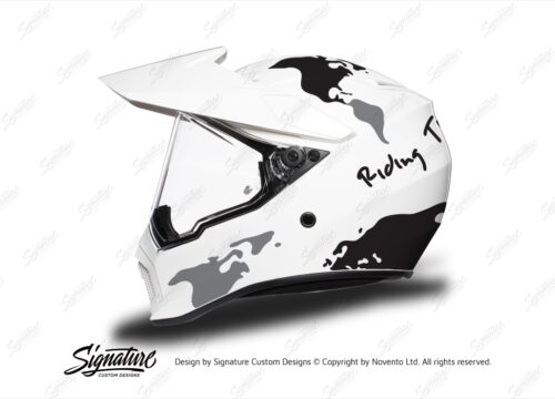 HEL 3742 AGV AX 9 Helmet White The Globe Black Silver Stickers Kit Left
