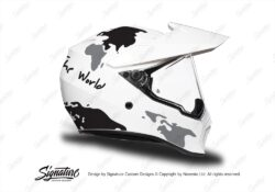 HEL 3742 AGV AX 9 Helmet White The Globe Black Silver Stickers Kit Right