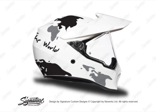 HEL 3742 AGV AX 9 Helmet White The Globe Black Silver Stickers Kit Right