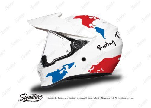HEL 3743 AGV AX 9 Helmet White The Globe Red Blue Stickers Kit Left