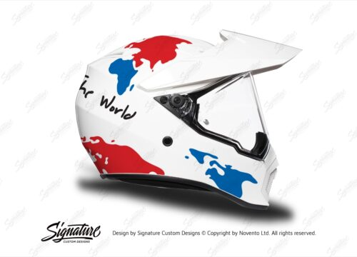 HEL 3743 AGV AX 9 Helmet White The Globe Red Blue Stickers Kit Right