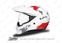 HEL 3744 AGV AX 9 Helmet White The Globe Red Silver Stickers Kit Left