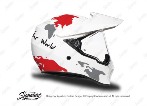 HEL 3744 AGV AX 9 Helmet White The Globe Red Silver Stickers Kit Right