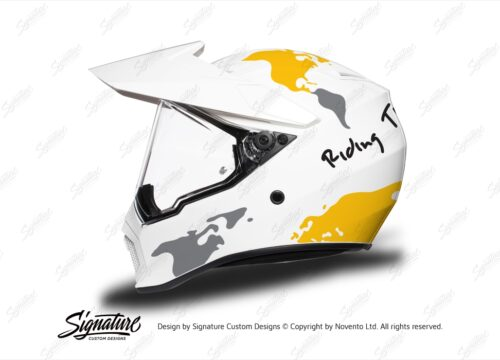HEL 3745 AGV AX 9 Helmet White The Globe Yellow Silver Stickers Kit Left