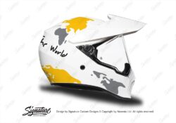 HEL 3745 AGV AX 9 Helmet White The Globe Yellow Silver Stickers Kit Right