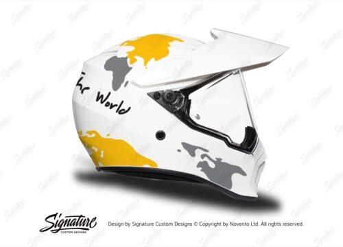 HEL 3745 AGV AX 9 Helmet White The Globe Yellow Silver Stickers Kit Right