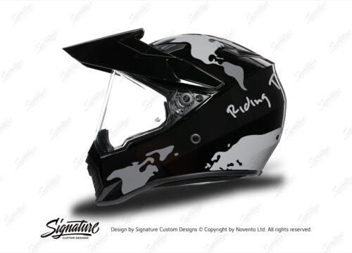 HEL 3746 AGV AX 9 Helmet Black The Globe Silver Variations Stickers Kit Left