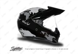 HEL 3746 AGV AX 9 Helmet Black The Globe Silver Variations Stickers Kit Right