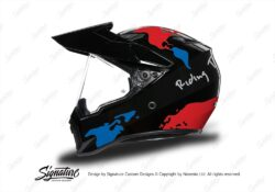 HEL 3747 AGV AX 9 Helmet Black The Globe Red Blue Stickers Kit Left