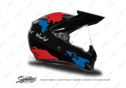 HEL 3747 AGV AX 9 Helmet Black The Globe Red Blue Stickers Kit Right
