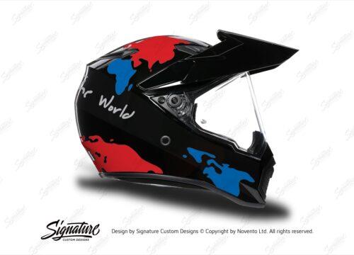 HEL 3747 AGV AX 9 Helmet Black The Globe Red Blue Stickers Kit Right