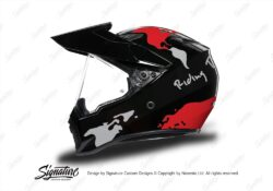 HEL 3748 AGV AX 9 Helmet Black The Globe Red Silver Stickers Kit Left