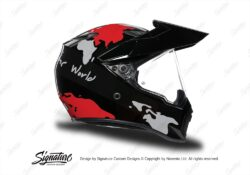 HEL 3748 AGV AX 9 Helmet Black The Globe Red Silver Stickers Kit Right