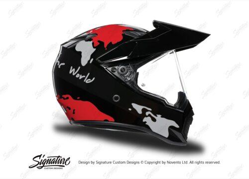 HEL 3748 AGV AX 9 Helmet Black The Globe Red Silver Stickers Kit Right