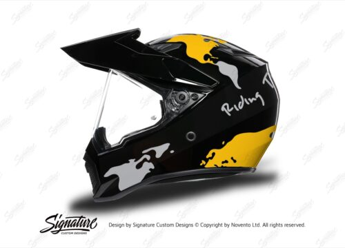 HEL 3749 AGV AX 9 Helmet Black The Globe Yellow Silver Stickers Kit Left