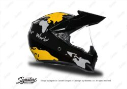 HEL 3749 AGV AX 9 Helmet Black The Globe Yellow Silver Stickers Kit Right