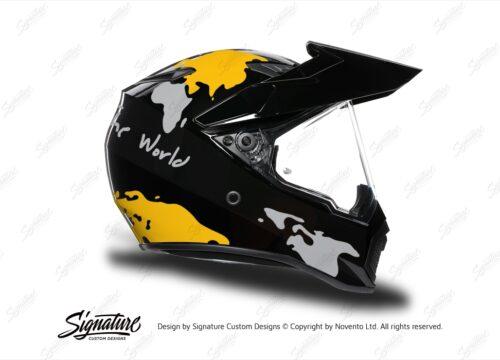 HEL 3749 AGV AX 9 Helmet Black The Globe Yellow Silver Stickers Kit Right