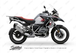 BKIT 3767 BMW R1250GS Adventure Ice Grey Spike V2 Red Black Stickers Kit 01