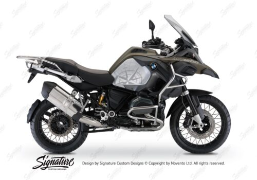 BKIT 3786 BMW R1200GS LC Adventure Olive Green Compass Grey Side Tank Stickers Kit 01