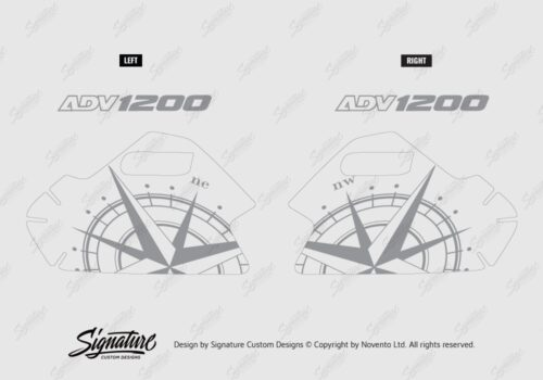 BKIT 3786 BMW R1200GS LC Adventure Olive Green Compass Grey Side Tank Stickers Kit 03